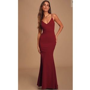 Infinite Glory Wine Red Maxi Dress